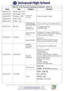 Class III – First Formative Assessment Schedule – 2018-19