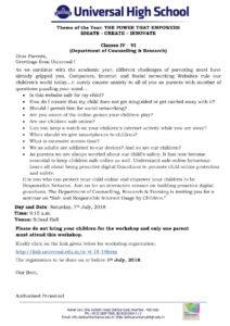Classes IV – VI – Parents Workshop