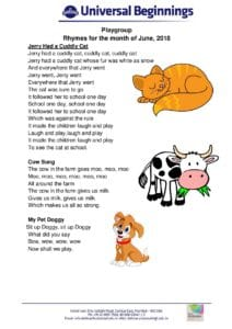 Playgroup – Rhymes for the month of June , 2018