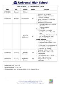 Class XI – First Formative Assessment Schedule – 2018-19