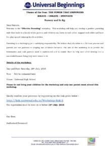 Nursery and Sr.Kg. – Parents Workshop