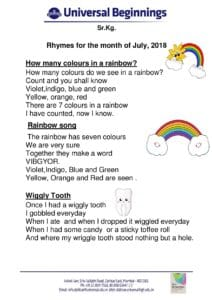 Sr.Kg. – Rhymes for the month of July , 2018