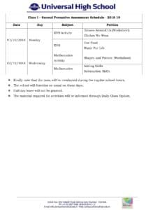 Class I – Second Formative Assessment Schedule – 2018-19
