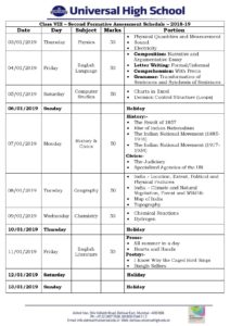 Class VIII – Second Formative Assessment Schedule – 2018-19