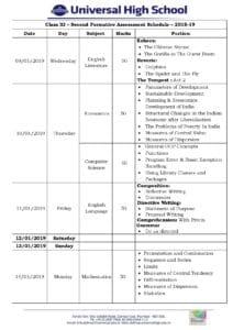 Class XI – Second Formative Assessment Schedule – 2018-19