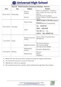 Class III – Third Formative Assessment Schedule 2018-19