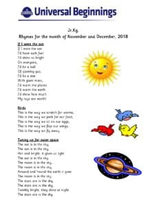 Jr.Kg. – Rhymes for the month of November and December, 2018